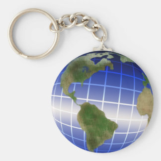 Earth Day Globe with Equator Highlight Basic Round Button Key Ring