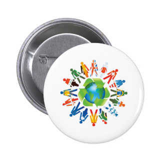 EARTH DAY GO GREEN 6 CM ROUND BADGE