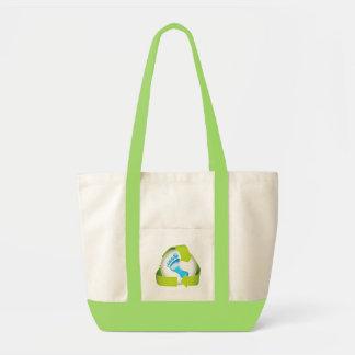 Earth Day Green Footprints Tote Bag