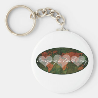 Earth Day Basic Round Button Key Ring
