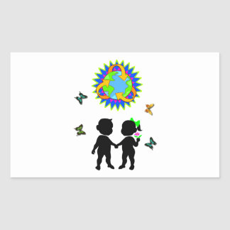 Earth Day Kids Rectangular Stickers