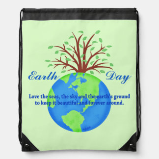 Earth Day Love Save It Green Environment Art Drawstring Bags
