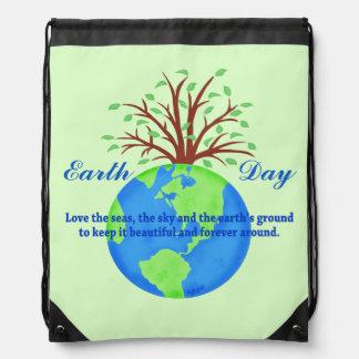 Earth Day Love Save It Green Environment Art Drawstring Bags