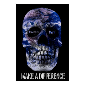Earth Day Make A Difference Skull Poster
