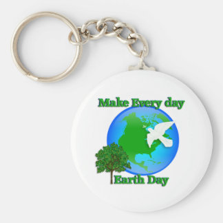 Earth day Make Every Day Earth Day 3D graphic Basic Round Button Key Ring