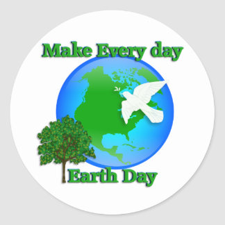 Earth day Make Every Day Earth Day 3D graphic Round Sticker