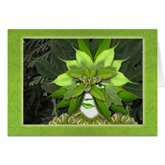 Earth Day, Mother Nature, Gaia Goddess, Leaf Woman Greeting Card