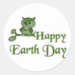Earth Day Owl Round Sticker