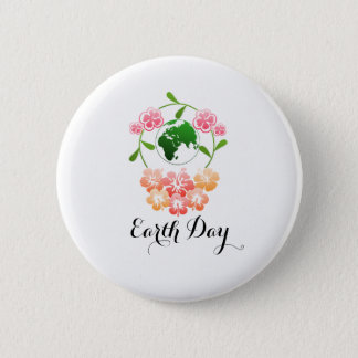 """""""Earth Day"""" Pretty Floral Badge. 6 Cm Round Badge"""