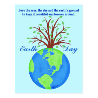 Earth Day Promote Save Love Globe Planet Tree Blue Postcard