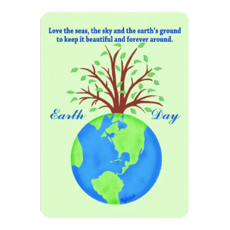 Earth Day Promote Save Love Globe Planet Tree Card