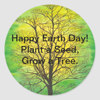 Earth Day Round Stickers - Green Tree