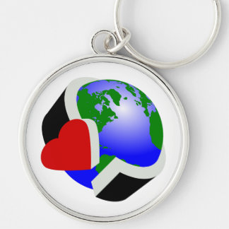 Earth Day Silver-Colored Round Key Ring