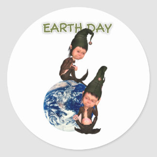 Earth Day Stickers With Cute Elf's And The Earth