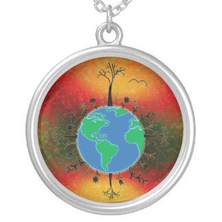 Earth Day ~ Sunset Round Pendant Necklace