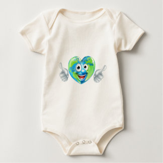 Earth Day Thumbs Up Heart Mascot Cartoon Character Baby Bodysuit