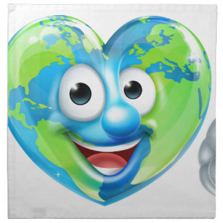 Earth Day Thumbs Up Heart Mascot Cartoon Character Napkin