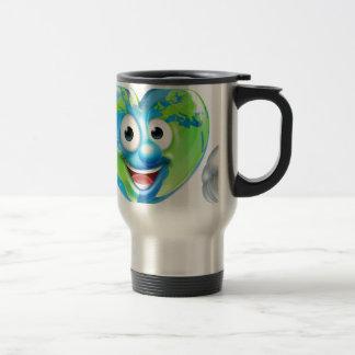 Earth Day Thumbs Up Heart Mascot Cartoon Character Travel Mug