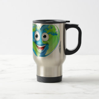 Earth Day Thumbs Up Mascot Heart Globe Cartoon Cha Travel Mug