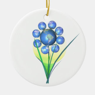 Earth Day World Flower Round Ceramic Decoration