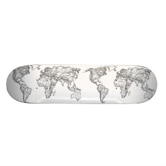 Earth drawing continents 21.6 cm skateboard deck