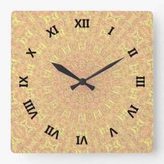EARTH Element Contours Pattern Square Wall Clock