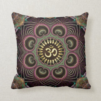 Earth Flower Fractal Energy Mandala Om Symbol Cushion