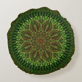 Earth Flower Mandala Round Cushion