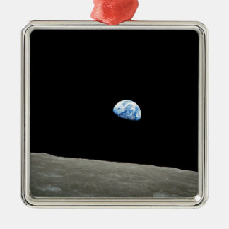 earth from moon space universe metal ornament