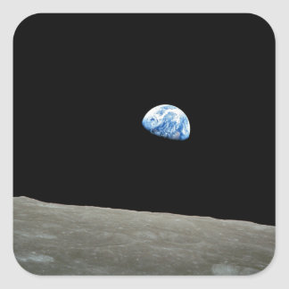 earth from moon space universe square sticker