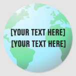Earth Globe Background Custom Text Round Stickers