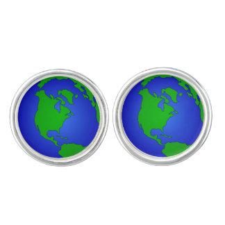 Earth Globe Round Cufflinks