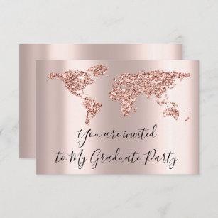 Earth Globe World Map Graduate We Move New Home Invitation