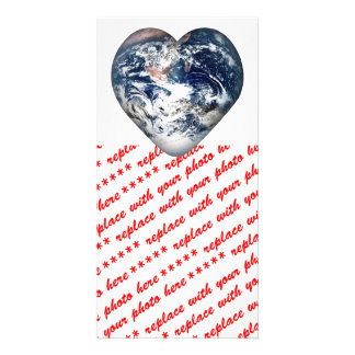 Earth Heart Add Background Color Photo Greeting Card