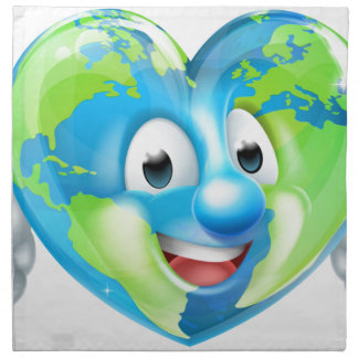 Earth Heart Globe Cartoon Character Napkin