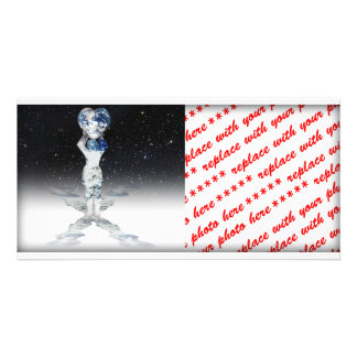 Earth Heart Holder Semi Universe Background Photo Greeting Card