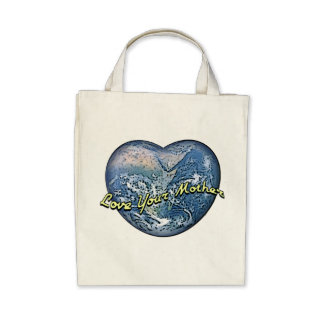 Earth Heart: Love Your Mother Canvas Bags