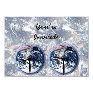 Earth Hour Clocks 830-930 5x7 Paper Invitation Card