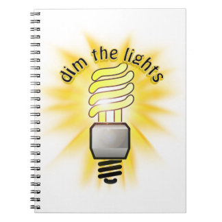 Earth Hour - Dim The Lights - Energy Saver Bulb Spiral Note Books
