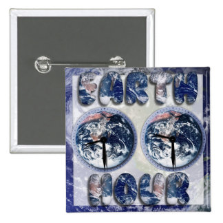 Earth Hour Earth Text W Clocks 2 Pinback Buttons