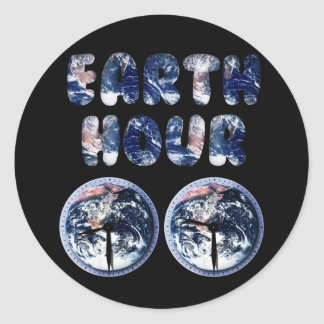 Earth Hour (Earth Text W/Clocks[2]) Round Sticker