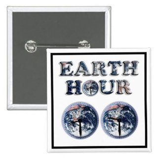 Earth Hour - Earth Text w Clocks 830-930 Pinback Button