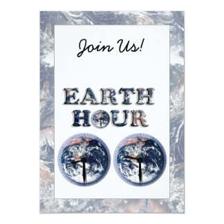 Earth Hour -  Earth Text w/Clocks 830-930 5x7 Paper Invitation Card