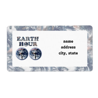 Earth Hour -  Earth Text w/Clocks 830-930 Shipping Label