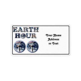 Earth Hour -  Earth Text w/Clocks 830-930 Address Label