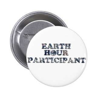 Earth Hour Participant - Earth Text W Clock Pinback Buttons