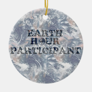 Earth Hour Participant -  Earth Text W/Clock Christmas Ornaments