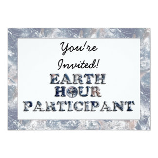 "Earth Hour Participant -  Earth Text W/Clock 5"" X 7"" Invitation Card"