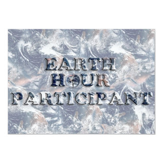 Earth Hour Participant -  Earth Text W/Clock Custom Announcements
