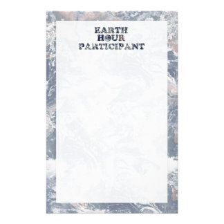 Earth Hour Participant -  Earth Text W/Clock Customized Stationery
